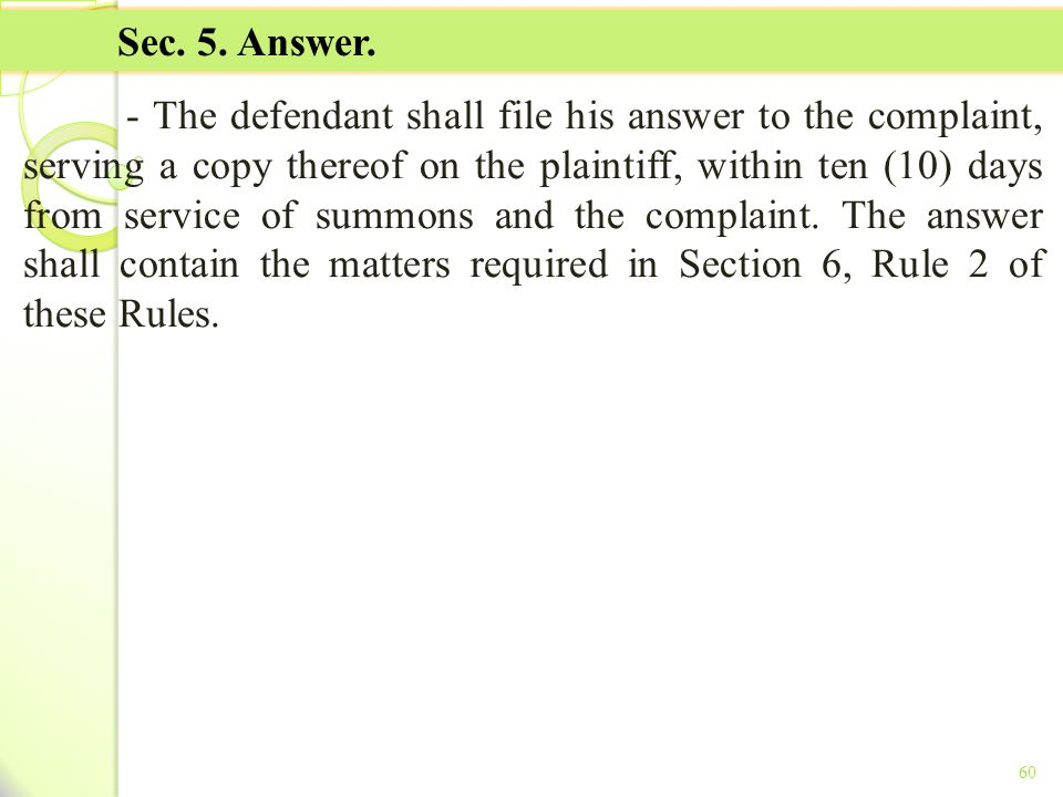 TITLE II - TAX ON INCOME Sec. 5. Answer.