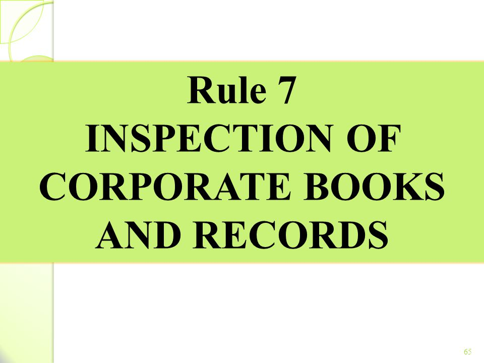 INSPECTION OF CORPORATE BOOKS AND RECORDS