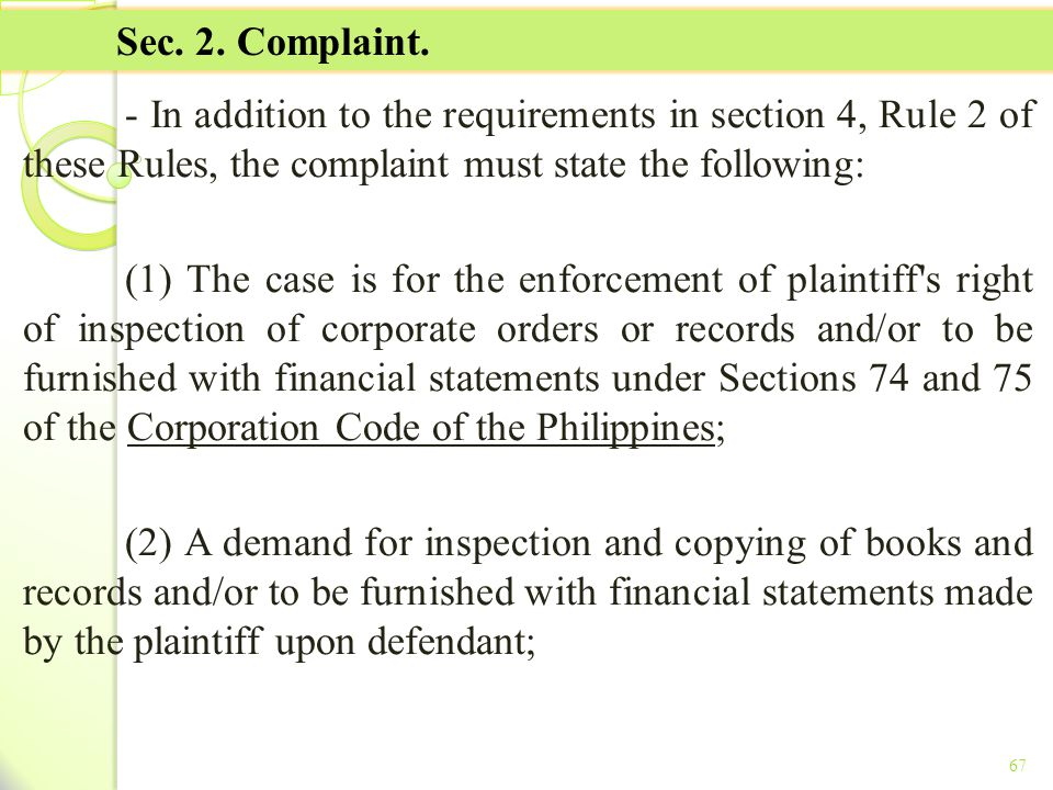 TITLE II - TAX ON INCOME Sec. 2. Complaint.