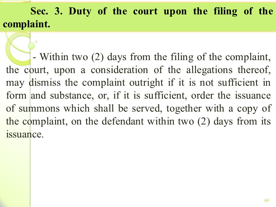 Sec. 3. Duty of the court upon the filing of the complaint.