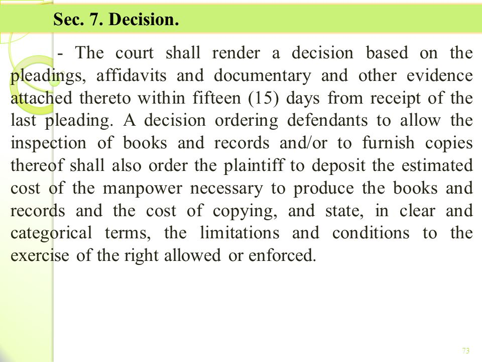 TITLE II - TAX ON INCOME Sec. 7. Decision.