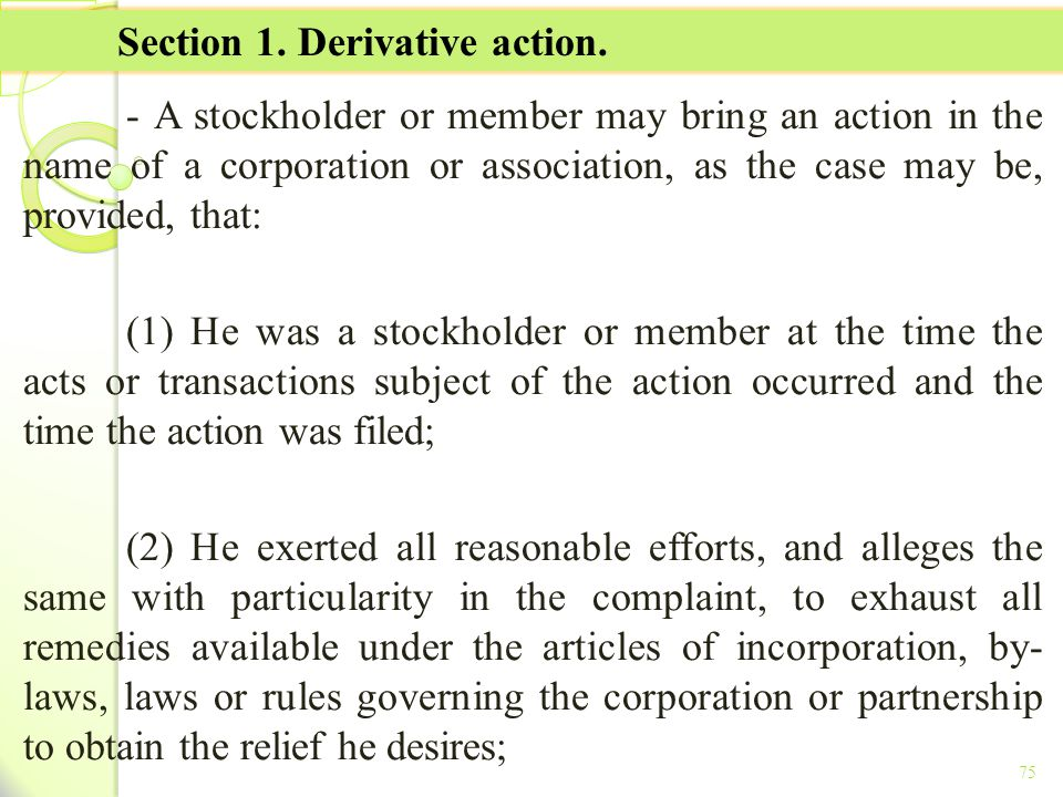 Section 1. Derivative action.