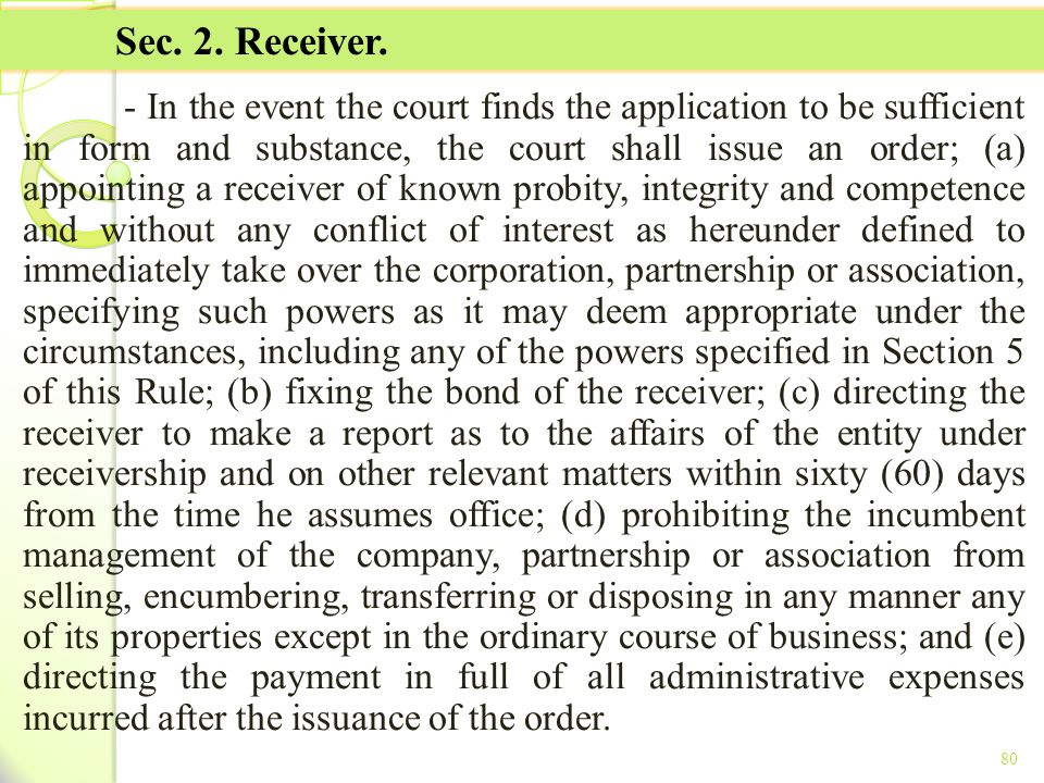 TITLE II - TAX ON INCOME Sec. 2. Receiver.