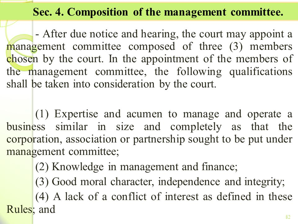 Sec. 4. Composition of the management committee.