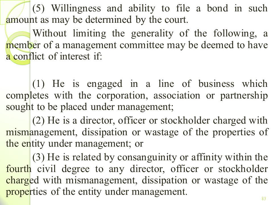TITLE II - TAX ON INCOME (5) Willingness and ability to file a bond in such amount as may be determined by the court.