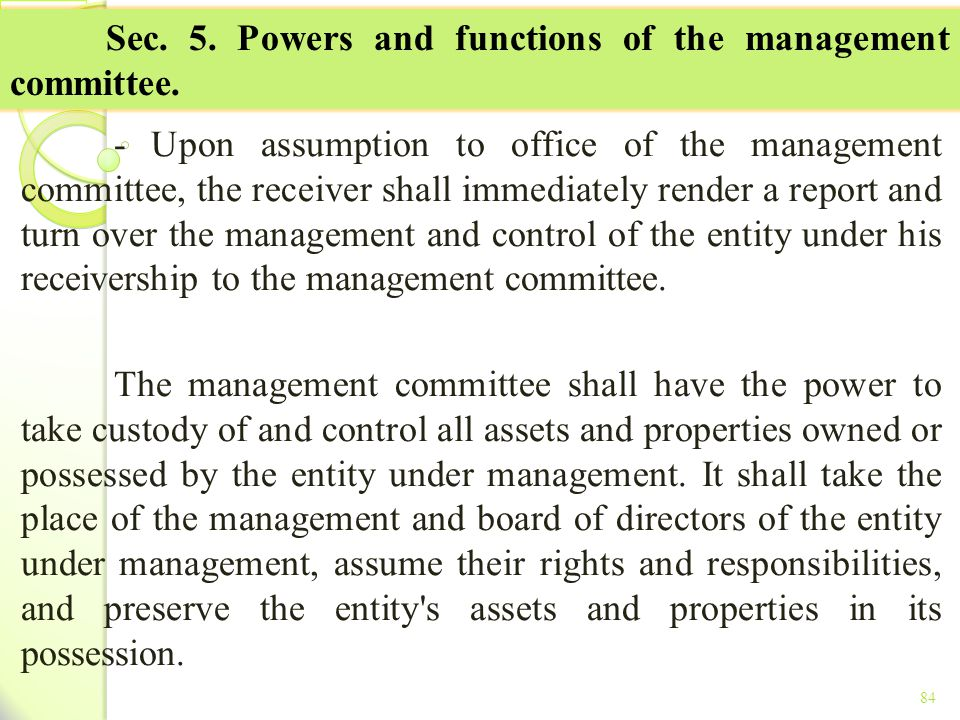 Sec. 5. Powers and functions of the management committee.