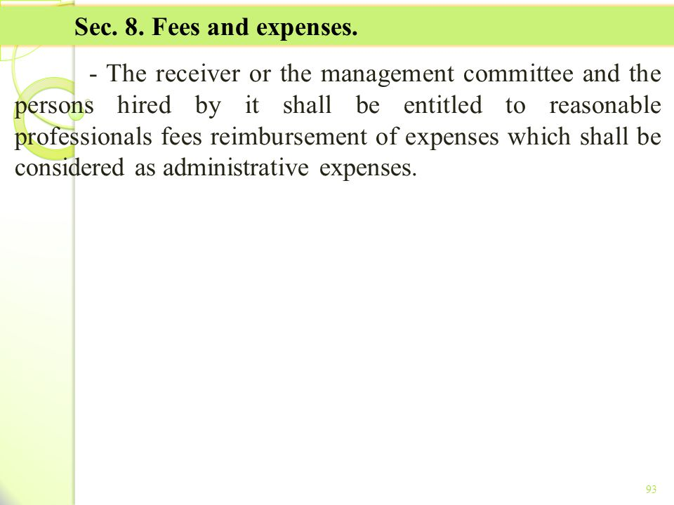 TITLE II - TAX ON INCOME Sec. 8. Fees and expenses.