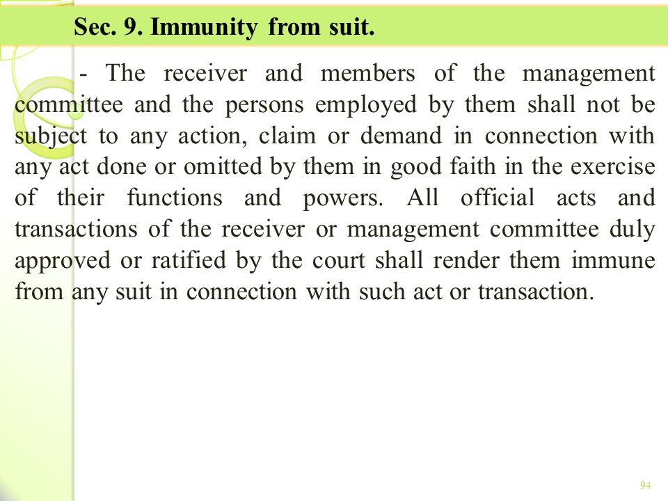 TITLE II - TAX ON INCOME Sec. 9. Immunity from suit.