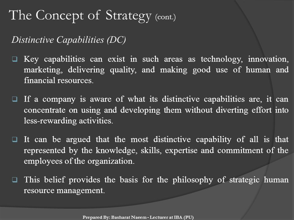 The Concept of Strategy (cont.)