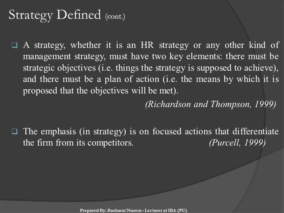 Strategy Defined (cont.)