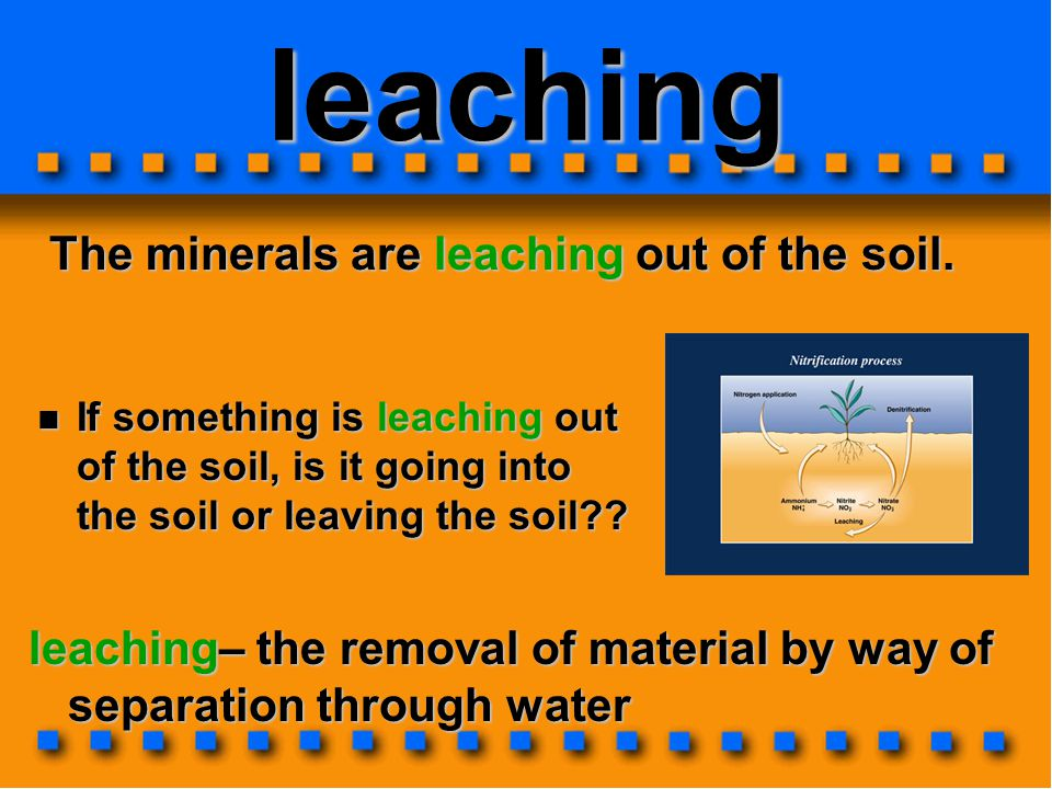 leaching The minerals are leaching out of the soil.