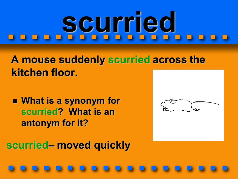 scurried A mouse suddenly scurried across the kitchen floor.