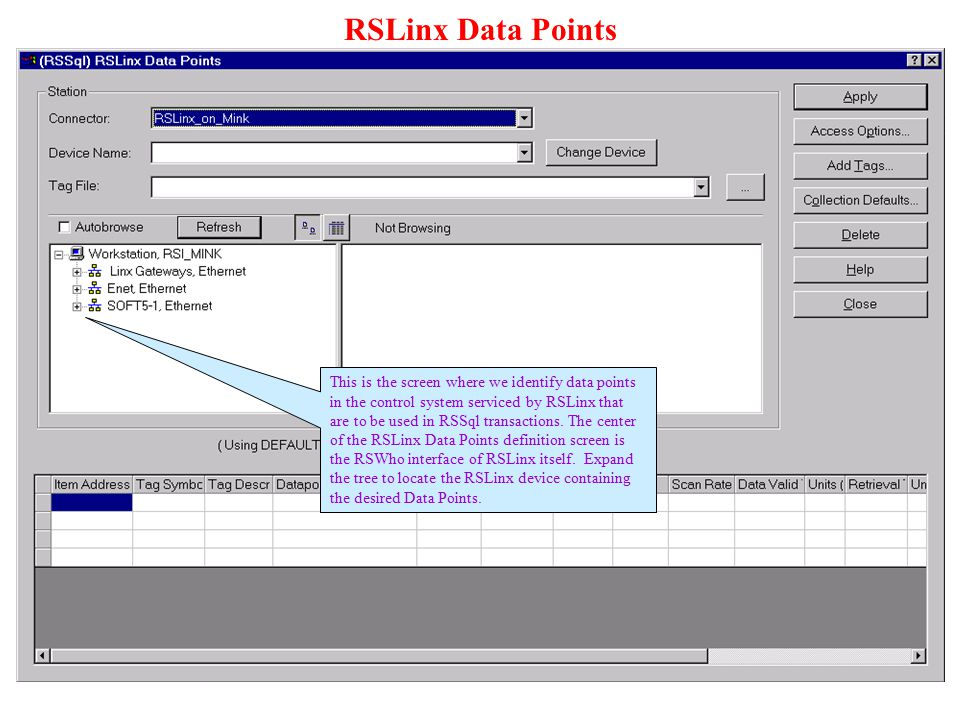 RSLinx Data Points