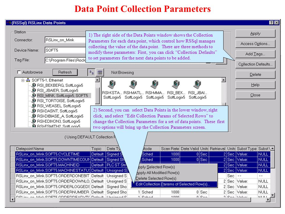 Data Point Collection Parameters