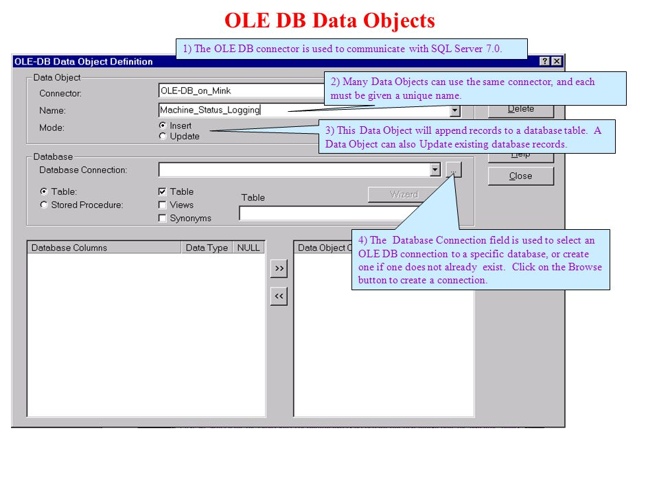 OLE DB Data Objects 1) The OLE DB connector is used to communicate with SQL Server 7.0.
