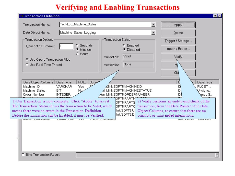 Verifying and Enabling Transactions
