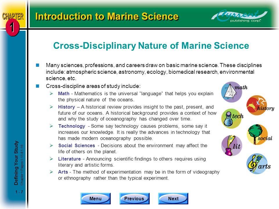 Cross-Disciplinary Nature of Marine Science