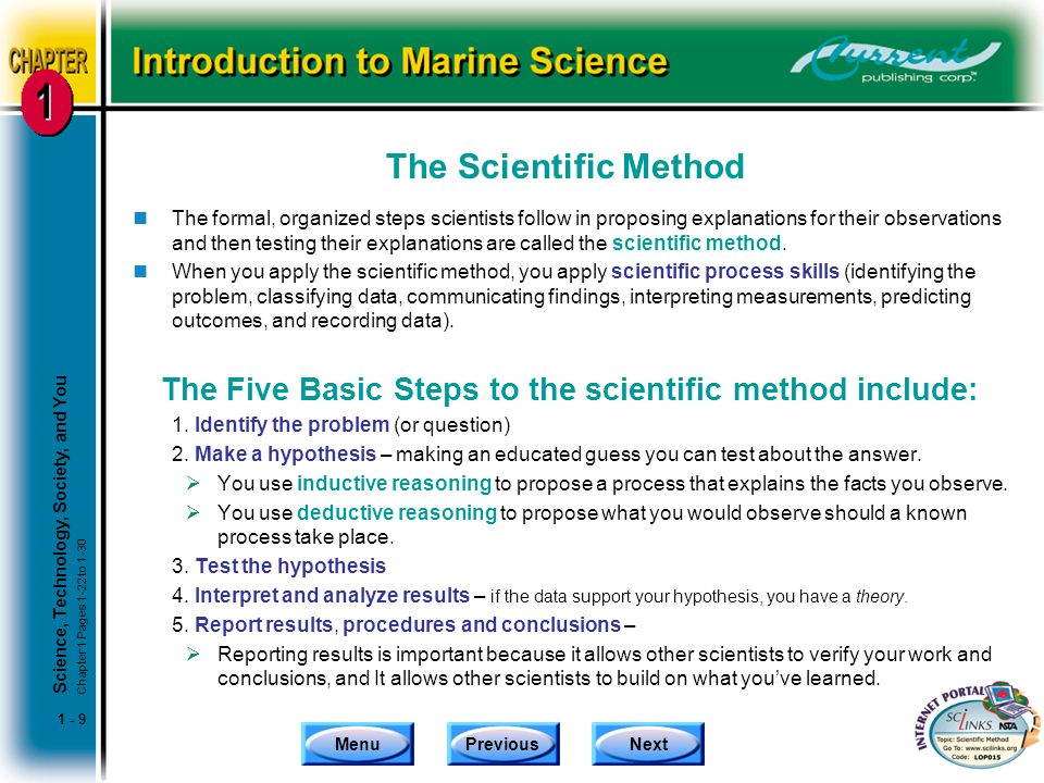 The Five Basic Steps to the scientific method include: