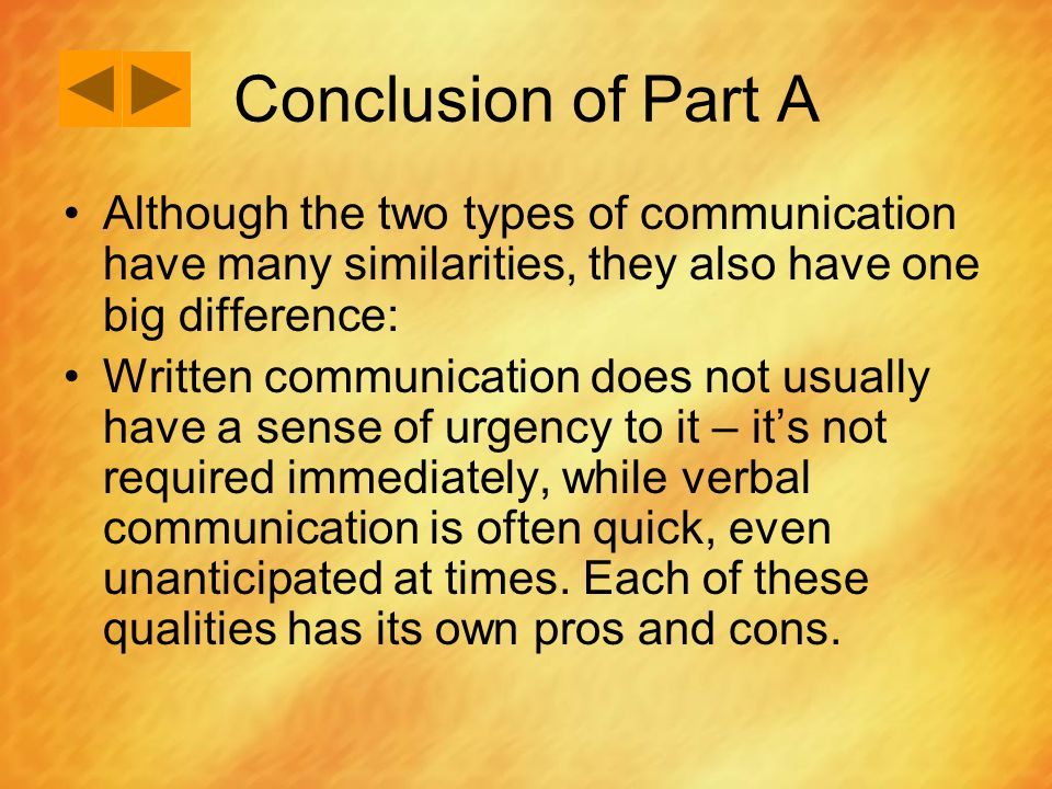 Conclusion of Part A Although the two types of communication have many similarities, they also have one big difference: