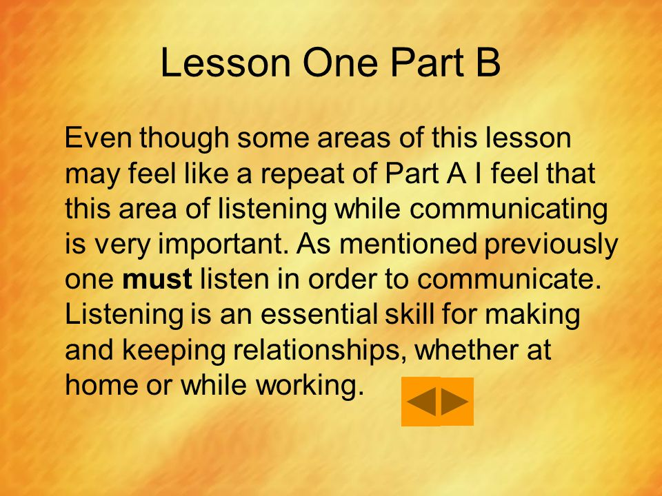 Lesson One Part B