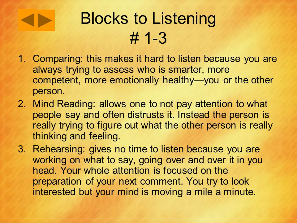 Blocks to Listening # 1-3