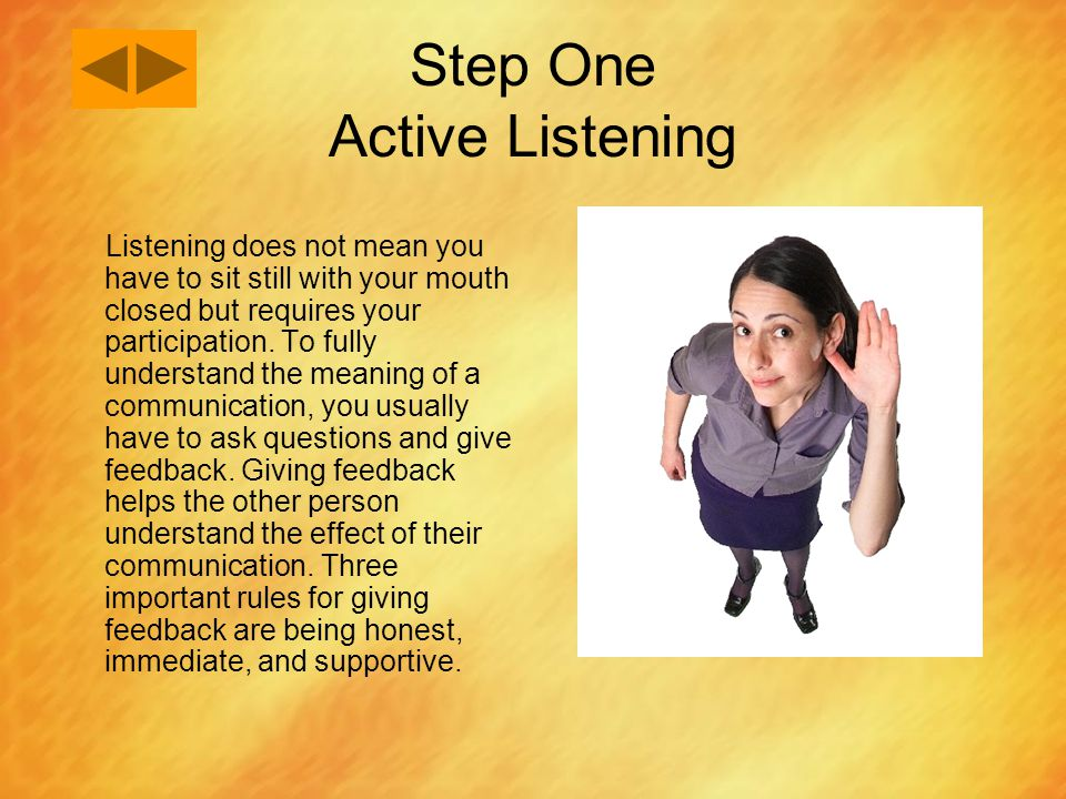 Step One Active Listening