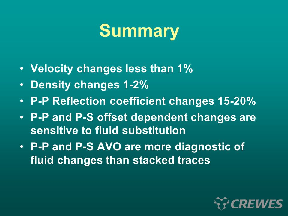 Summary Velocity changes less than 1% Density changes 1-2%