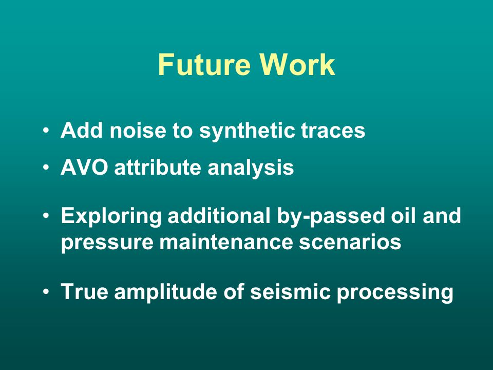 Future Work Add noise to synthetic traces AVO attribute analysis