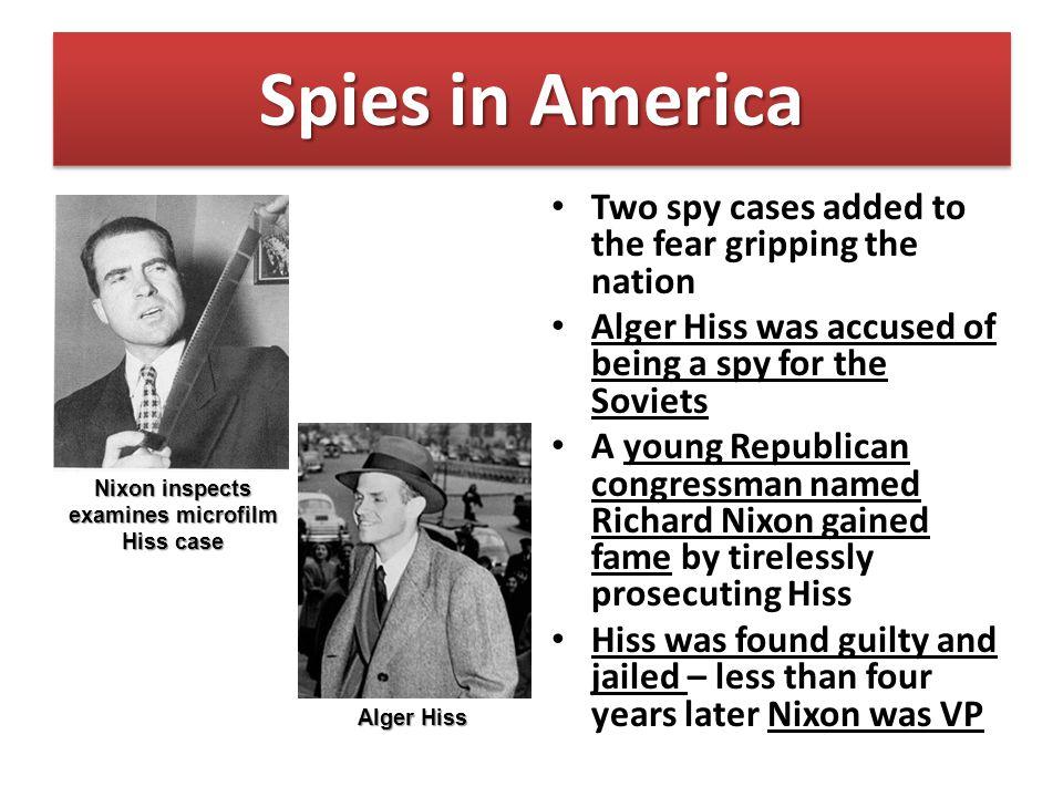 Nixon inspects examines microfilm Hiss case