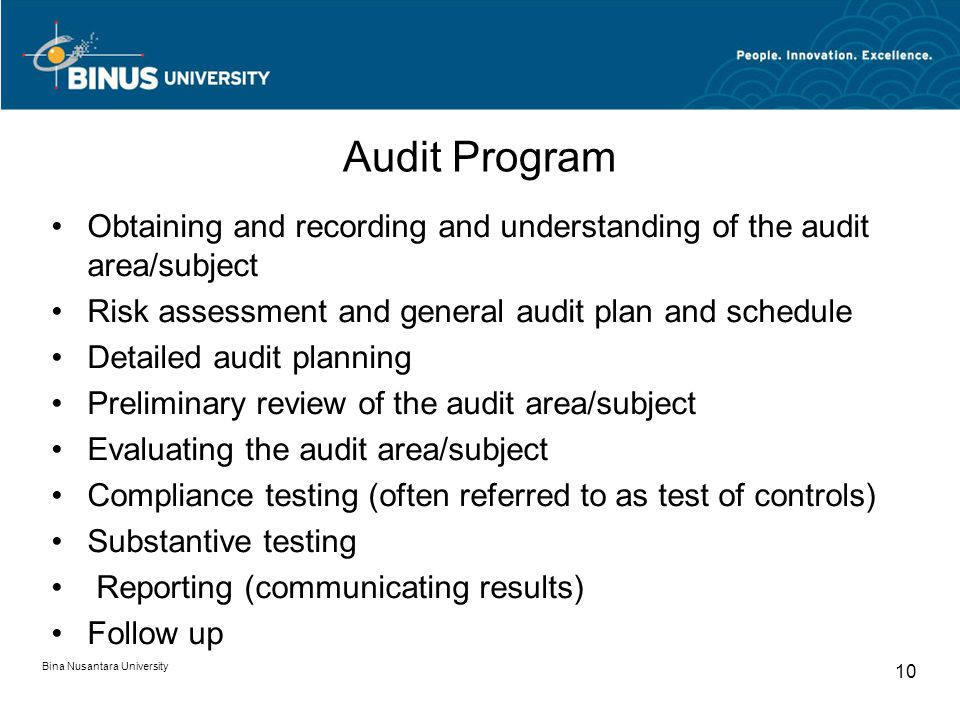 Audit Program Obtaining and recording and understanding of the audit area/subject. Risk assessment and general audit plan and schedule.