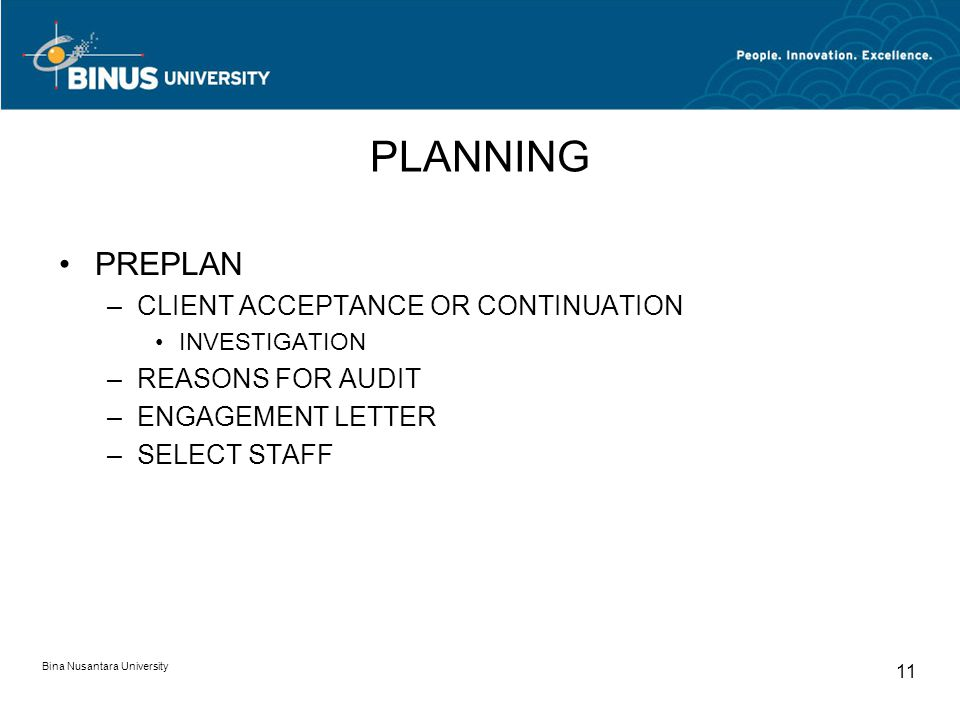 PLANNING PREPLAN CLIENT ACCEPTANCE OR CONTINUATION REASONS FOR AUDIT