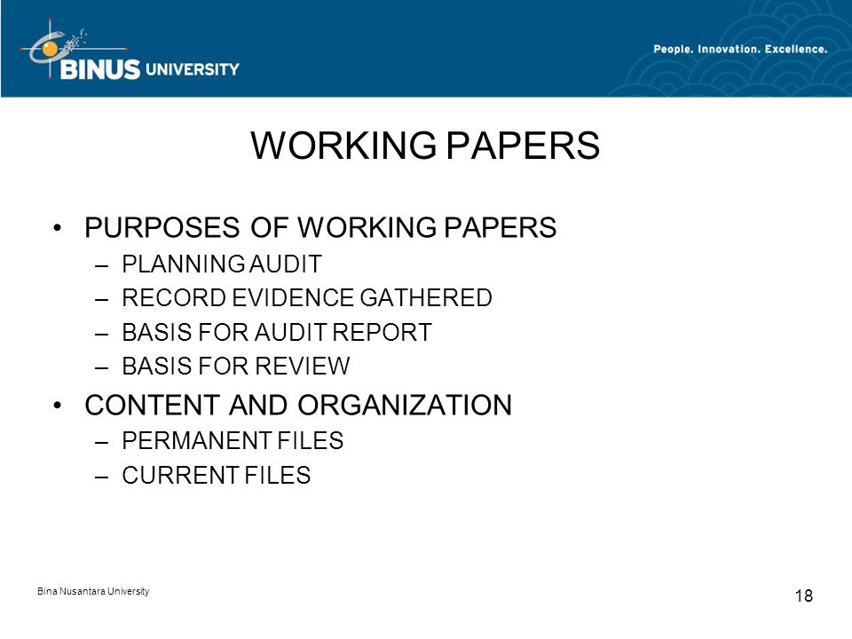 WORKING PAPERS PURPOSES OF WORKING PAPERS CONTENT AND ORGANIZATION