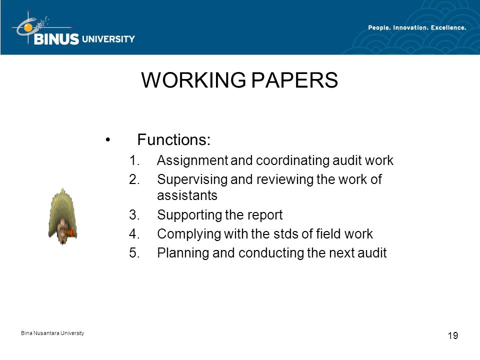 WORKING PAPERS Functions: Assignment and coordinating audit work