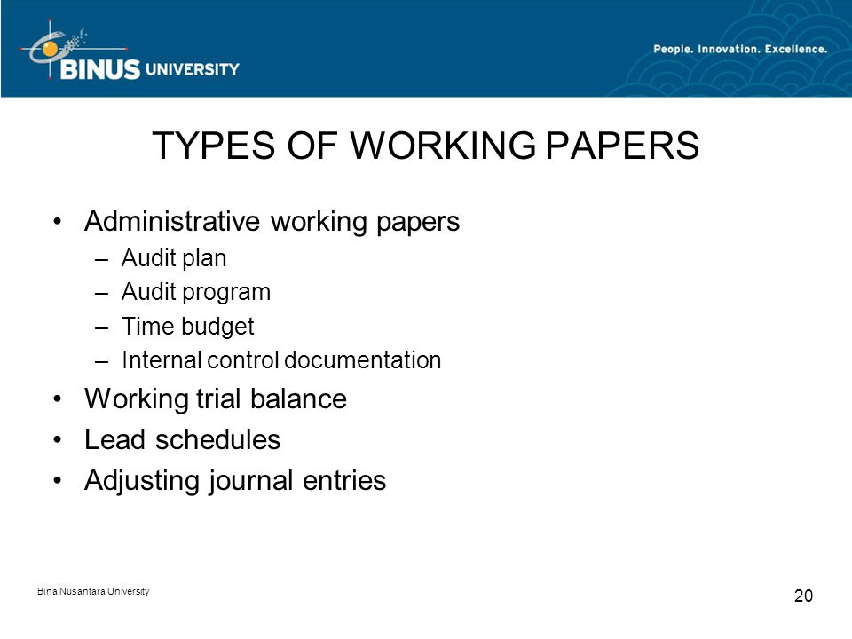 TYPES OF WORKING PAPERS