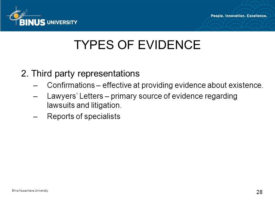 TYPES OF EVIDENCE 2. Third party representations