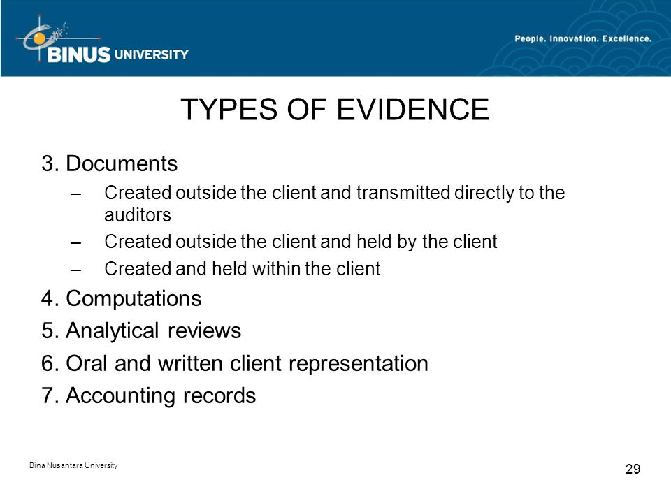 TYPES OF EVIDENCE 3. Documents 4. Computations 5. Analytical reviews