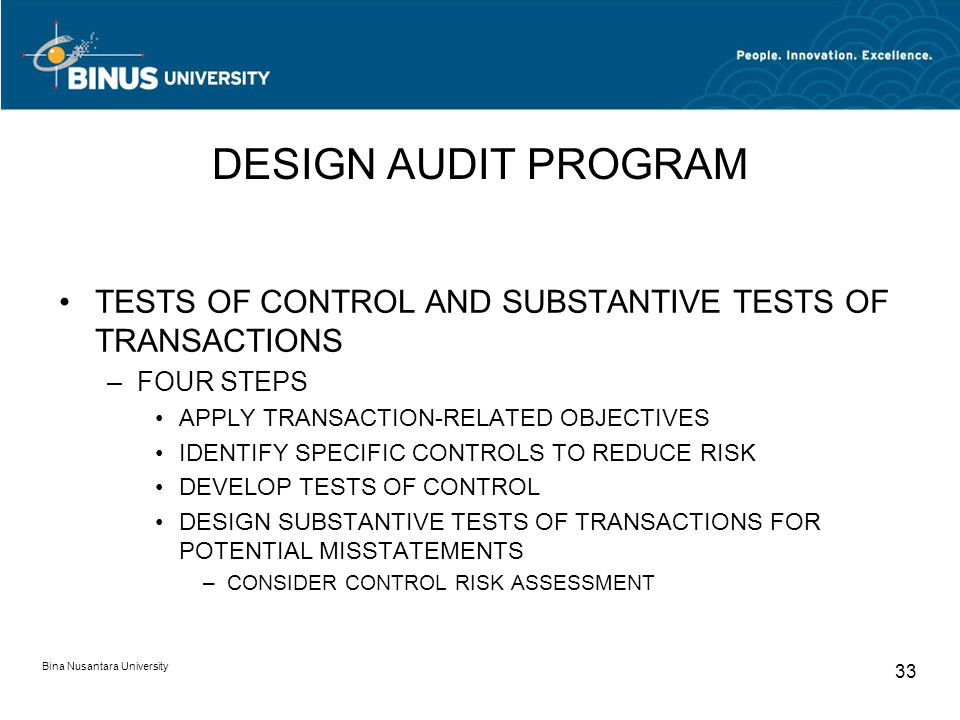 DESIGN AUDIT PROGRAM TESTS OF CONTROL AND SUBSTANTIVE TESTS OF TRANSACTIONS. FOUR STEPS. APPLY TRANSACTION-RELATED OBJECTIVES.