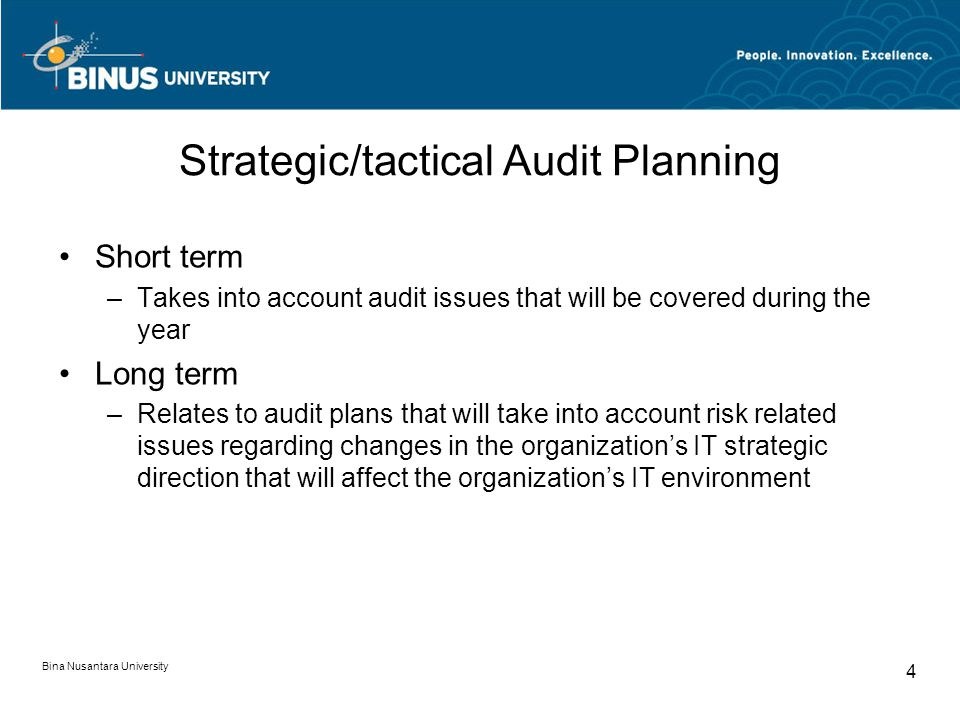 Strategic/tactical Audit Planning