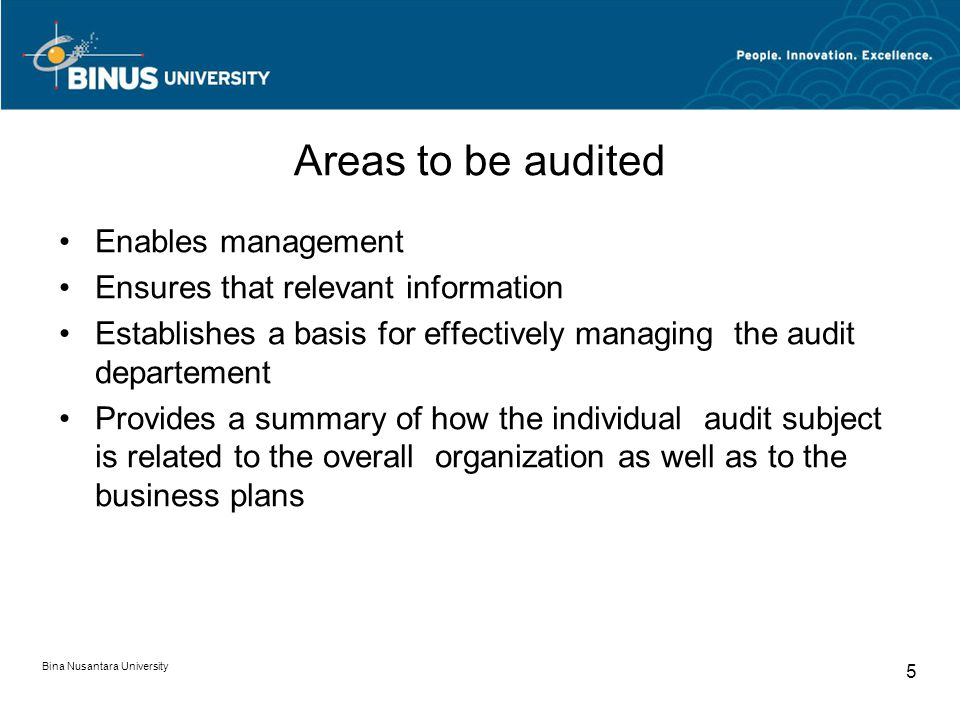 Areas to be audited Enables management