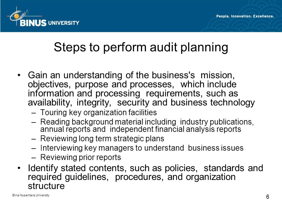 Steps to perform audit planning