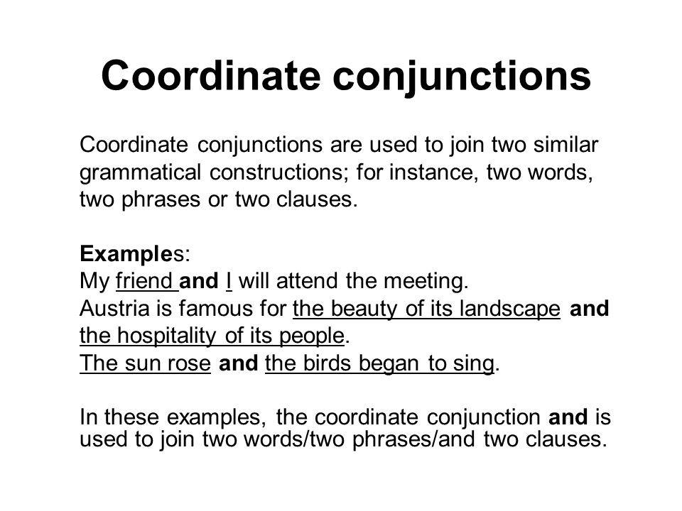 Coordinate conjunctions