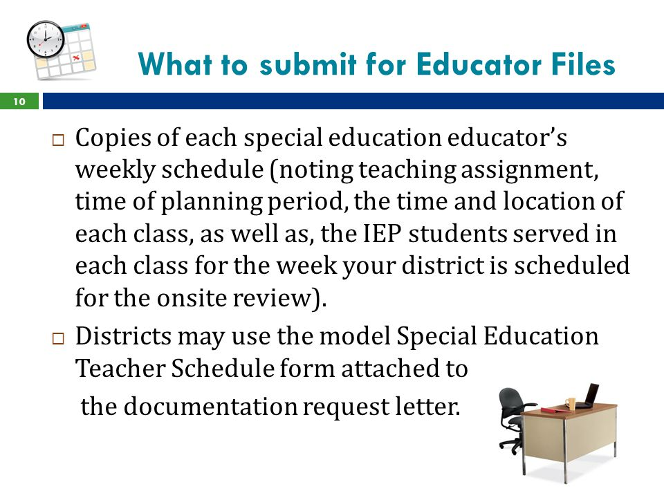 What to submit for Educator Files