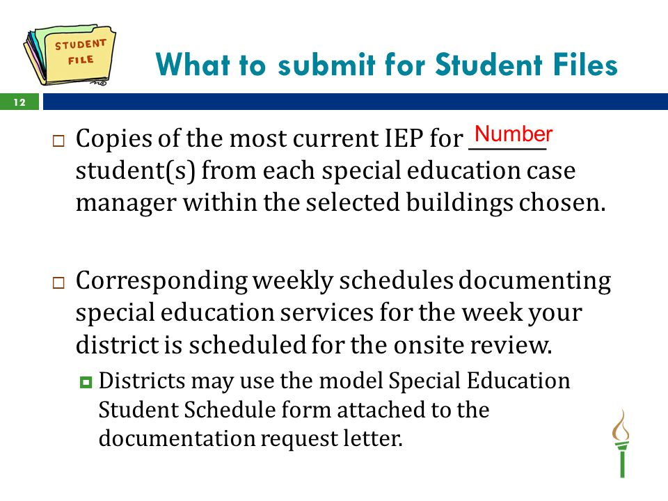 What to submit for Student Files
