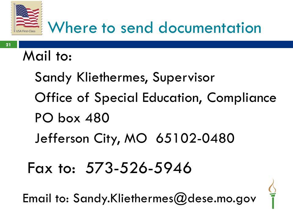 Where to send documentation
