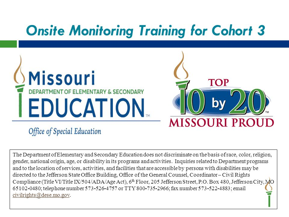 Onsite Monitoring Training for Cohort 3