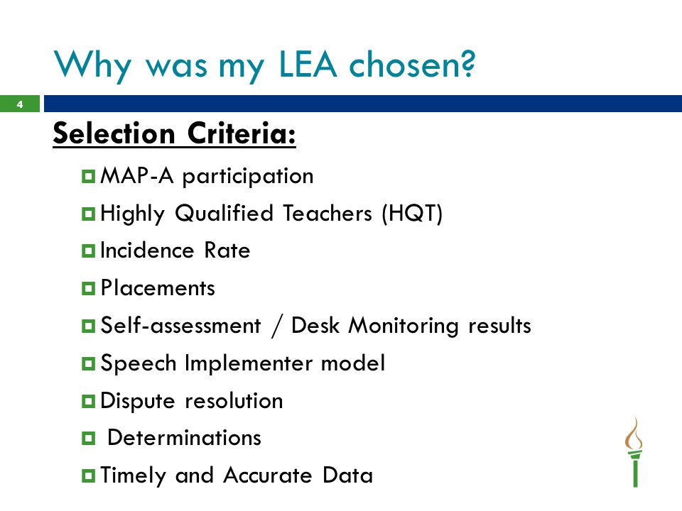 Why was my LEA chosen Selection Criteria: MAP-A participation