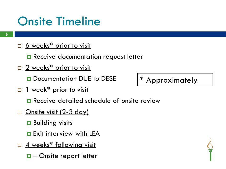 Onsite Timeline * Approximately 6 weeks* prior to visit