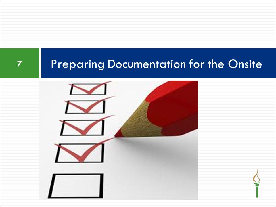 Preparing Documentation for the Onsite