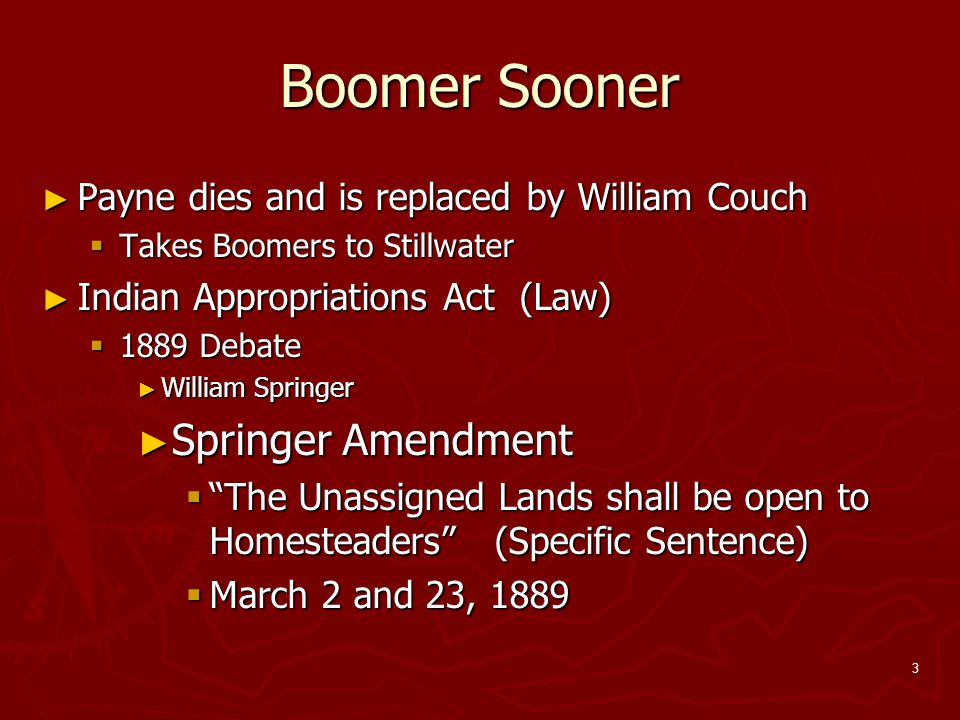 Boomer Sooner Springer Amendment