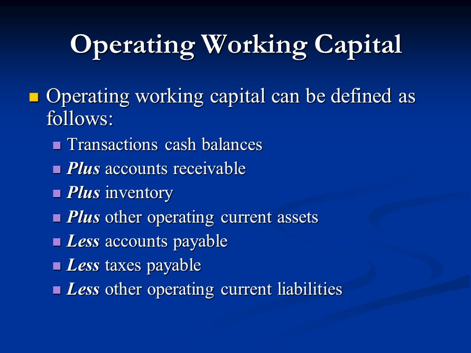 Operating Working Capital